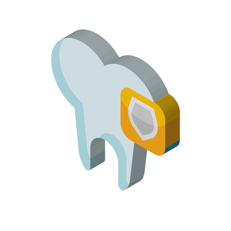 Tooth isometric right top view 3D icon