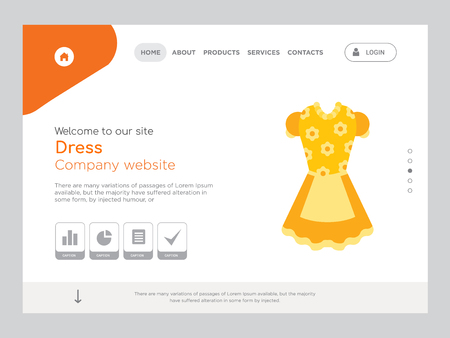Quality One Page Dress Website Template Vector Eps, Modern Web Design with landscape illustration, ideal for landing page, Dress icon Ilustração