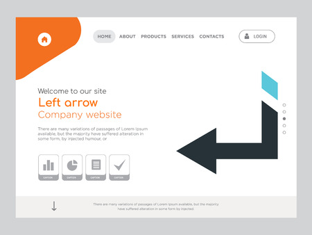 Quality One Page Left arrow Website Template Vector Eps, Modern Web Design with landscape illustration, ideal for landing page, Left arrow icon