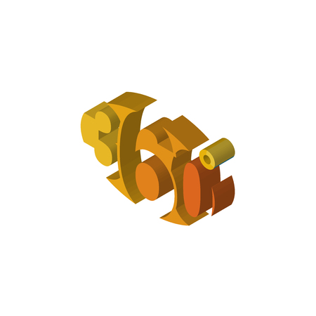 360 degree isometric right top view 3D icon Illustration
