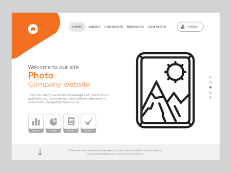 Quality One Page Photo Website Template Vector Eps, Modern Web Design with landscape illustration, ideal for landing page, Photo icon Foto de archivo - 104982581