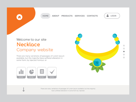 Quality One Page Necklace Website Template Vector Eps, Modern Web Design with landscape illustration, ideal for landing page, Necklace icon