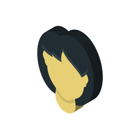 Woman hair isometric right top view 3D icon