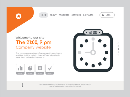 Quality One Page The 21:00, 9 pm Website Template Vector Eps, Modern Web Design with landscape illustration, ideal for landing page, The 21:00, 9 pm icon
