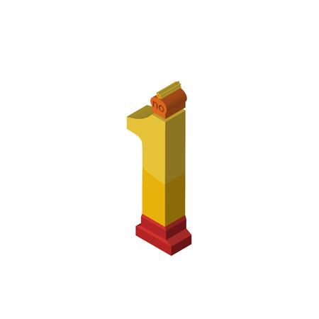 no.1 isometric right top view 3D icon