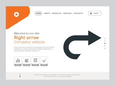 Kwaliteit één pagina Pijl naar rechts Website sjabloon Vector Eps, modern webdesign met landschapsillustratie, ideaal voor bestemmingspagina, pictogram met pijl naar rechts Vector Illustratie
