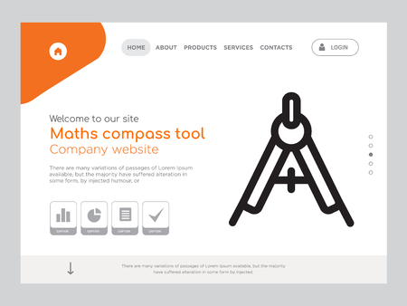 Quality One Page Maths compass tool Website Template Vector Eps, Modern Web Design with landscape illustration, ideal for landing page, Maths compass tool icon
