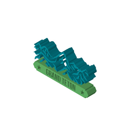 grand teton isometric right top view 3D icon