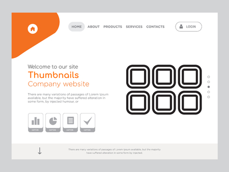 Quality One Page Thumbnails Website Template Vector Eps, Modern Web Design with landscape illustration, ideal for landing page, Thumbnails icon