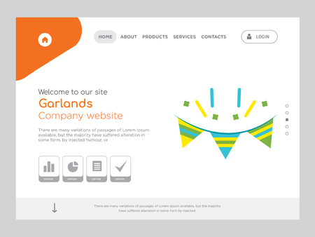 Quality One Page Garlands Website Template Vector Eps, Modern Web Design with landscape illustration, ideal for landing page, Garlands icon Illustration