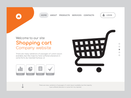 Quality One Page Shopping cart Website Template Vector Eps, Modern Web Design with landscape illustration, ideal for landing page, Shopping cart icon
