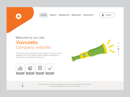Quality One Page Vuvuzela Website Template Vector Eps, Modern Web Design with landscape illustration, ideal for landing page, Vuvuzela icon