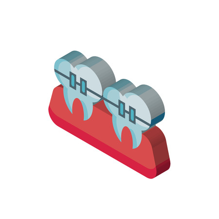 Braces isometric right top view 3D icon Illustration
