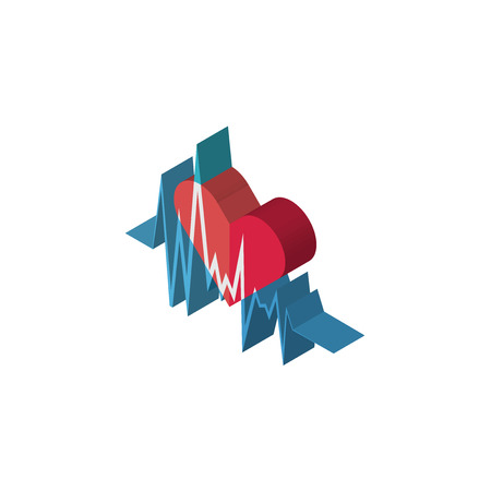 heartbeat isometric right top view 3D icon