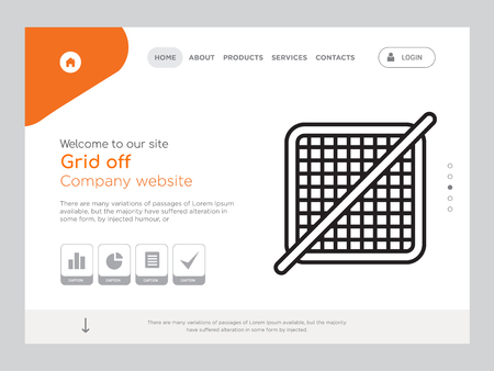 Quality One Page Grid off Website Template Vector Eps, Modern Web Design with landscape illustration, ideal for landing page, Grid off icon