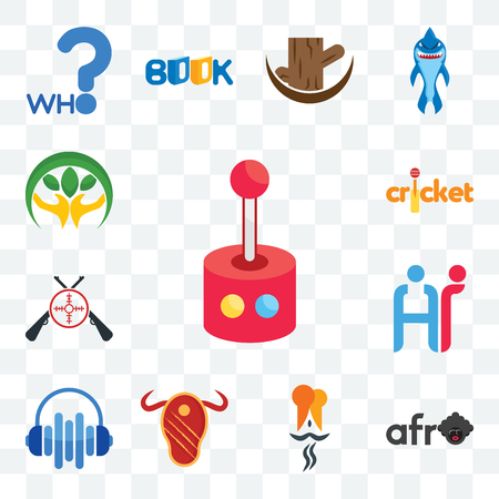 Set Of 13 transparent editable icons such as retropie, afro, indian restaurant, steak house, audio visual, hr, shooters, cricket, hand holding plant, web ui icon pack Standard-Bild - 106200988