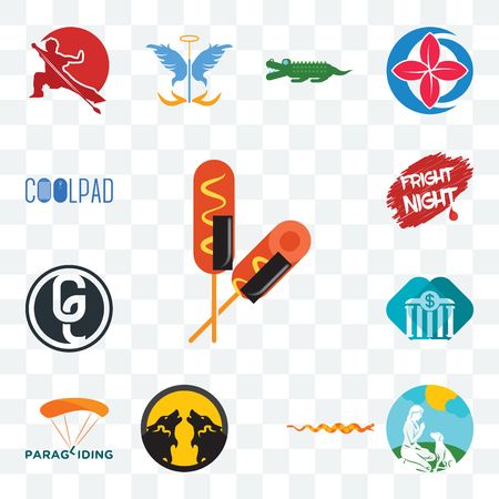 Set Of 13 transparent editable icons such as corn dog, dog trainer, rattlesnake, pack wolf, paragliding, all bank, ge white, fright night, coolpad, web ui icon Illustration