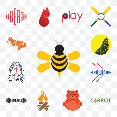Set Of 13 transparent editable icons such as honey bee, carrot, cute bear, bonfire, dumbbell, rowing, , web ui icon pack