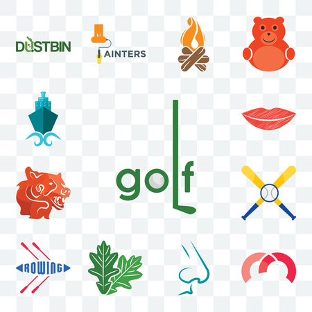 Set Of 13 transparent editable icons such as golf, m, nose, oak leaf, rowing, baseball team, bear head, lip, shipping company, web ui icon pack Stock Illustratie