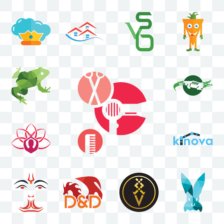 Set Of 13 transparent editable icons such as salon, deceit, luxury, dungeons and dragons, anjaneya, kinova, lotus, big frog, web ui icon pack Stock Illustratie