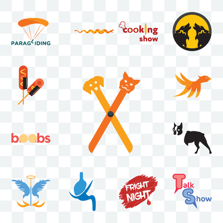 Set Of 13 transparent editable icons such as pet groomer, talk show, fright night, gastroenterology, guardian angel, boston terrier, boobs, bird m, corn dog, web ui icon pack