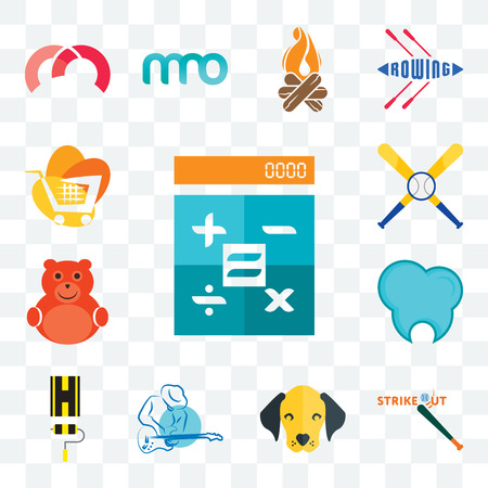 Set Of 13 transparent editable icons such as calculator, strike out, dog face, s music, highway, dental clinic, cute bear, baseball team, trolley, web ui icon pack