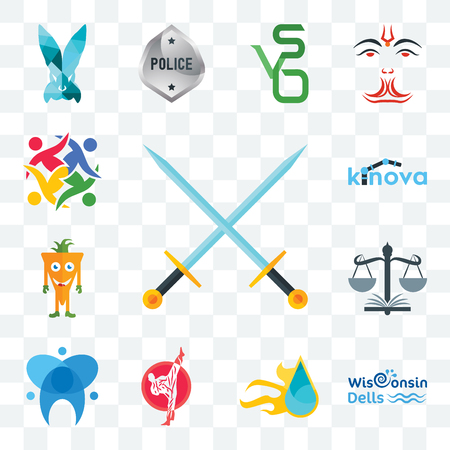 Set Of 13 transparent editable icons such as excalibur, wisconsin dells, liquid nitro, karate, dental, naacp, mascot, kinova, unity, web ui icon pack