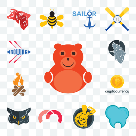 Set Of 13 transparent editable icons such as cute bear, dental clinic, muscle man, m, , cryptocurrency, bonfire, wolf, rowing, web ui icon pack Stock Illustratie