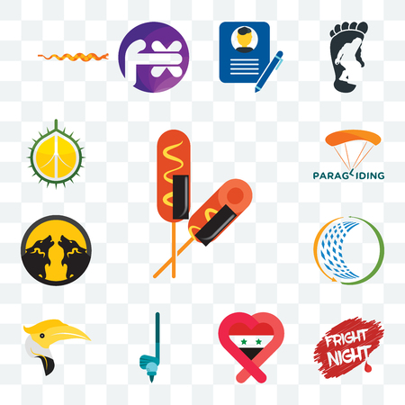 Set Of 13 transparent editable icons such as corn dog, fright night, syria, , hornbill, general trading, pack wolf, paragliding, durian, web ui icon