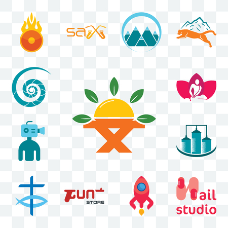 Set Of 13 transparent editable icons such as farm to table, nail studio, rocketship, gun store, christian fish, silo, cameraman, massage therapist, nautilus shell, web ui icon pack