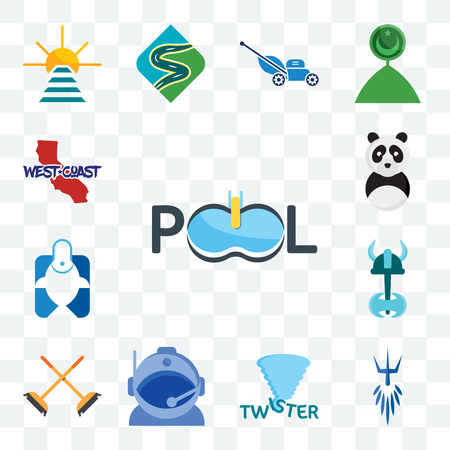 Set Of 13 transparent editable icons such as pool company, poseidon, twister, astronaut helmet, streetbrush, viking, fishing store, panda mascot, west coast, web ui icon pack Stock Illustratie