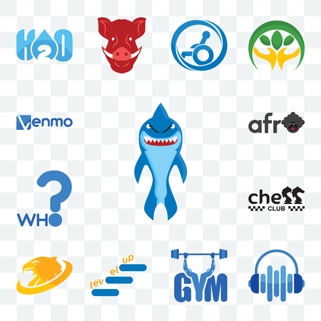 Set Of 13 transparent editable icons such as shark mascot, audio visual, gym, level up, golden eagle, chess club, who, afro, venmo, web ui icon pack