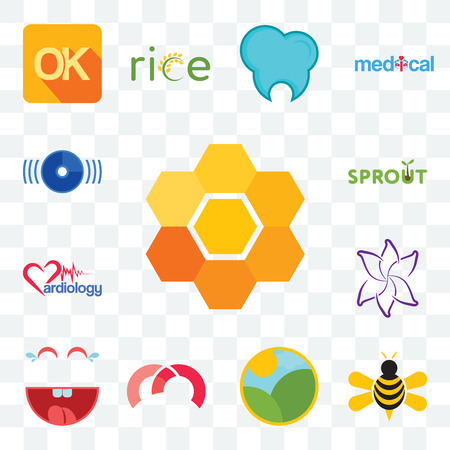 Set Of 13 transparent editable icons such as honeycomb, honey bee, farm, m, laugh, lily flower, cardiology, sprout, disk, web ui icon pack