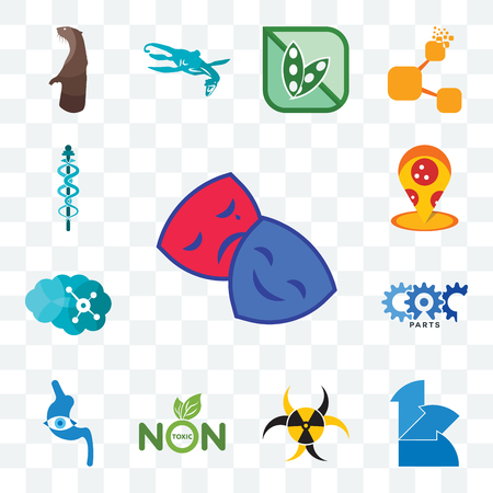 Set Of 13 transparent editable icons such as drama club, 111, quarantine, non toxic, endoscope, carparts, neuro, pizza place, mbbs, web ui icon pack