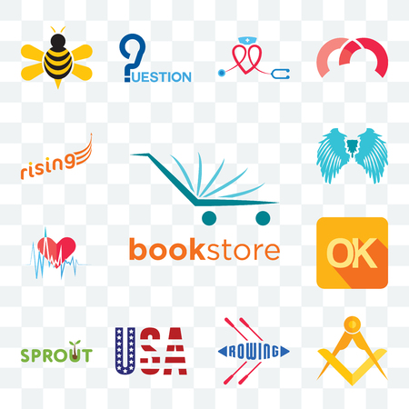 Set Of 13 transparent editable icons such as bookstore, masonic, rowing, american flag, sprout, , heartbeat, angel wing, rising, web ui icon pack Stock Illustratie