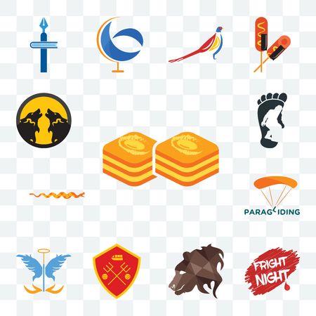 Set Of 13 transparent editable icons such as baklava, fright night, bear profile, man u, guardian angel, paragliding, rattlesnake, bigfoot, pack wolf, web ui icon