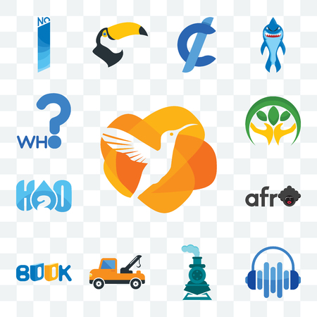 Set Of 13 transparent editable icons such as humming bird, audio visual, , tow truck, book, afro, h2o, hand holding plant, who, web ui icon pack