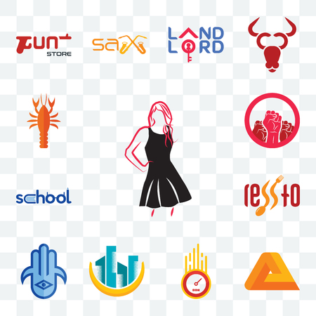 Set Of 13 transparent editable icons such as little black dress, penrose, odometer, construction, hamsa, , school, social justice, crawfish, web ui icon pack