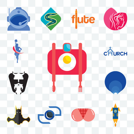 Set Of 13 transparent editable icons such as food photography, stellar, ass, camera, bat man, golden ratio, vikings, church, cheerleader, web ui icon pack