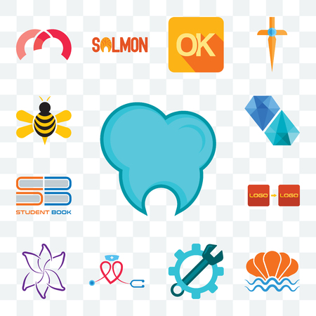 Set Of 13 transparent editable icons such as dental clinic, sea shell, spanner, nursing, lily flower, turn, student book, diamond, honey bee, web ui icon pack Stock Illustratie