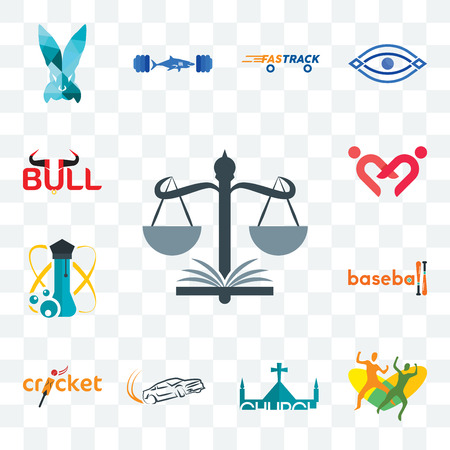 Set Of 13 transparent editable icons such as naacp, , church, drift, cricket, baseball, science, friendship, bull, web ui icon pack Stock Illustratie