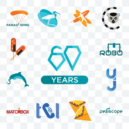 Set Of 13 transparent editable icons such as diamond jubilee, periscope, crepe, , matchbox, yj, elephand dolphin, robo, corn dog, web ui icon pack Stock Illustratie