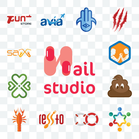 Set Of 13 transparent editable icons such as nail studio, peoples, life preserver, , crawfish, poop, four hearts, arm wrestling, sax, web ui icon pack Stock Illustratie