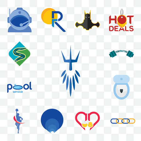 Set Of 13 transparent editable icons such as poseidon, supply chain, senior care, golden ratio, cheerleader, toilet bowl, pool service, powerlifting, winding road, web ui icon pack