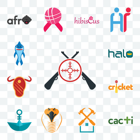 Set Of 13 transparent editable icons such as shooters, cacti, property maintenance, snake head, paper boat, cricket, steak house, halo, shark mascot, web ui icon pack Stock Illustratie