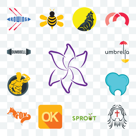 Set Of 13 transparent editable icons such as lily flower, , sprout, dental clinic, muscle man, umbrella, dumbbell, web ui icon pack Stock Illustratie