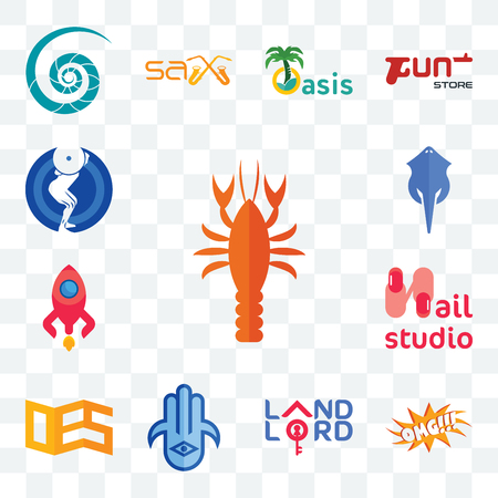 Set Of 13 transparent editable icons such as crawfish, omg, landlord, hamsa, oes, nail studio, rocketship, stingray, squat, web ui icon pack