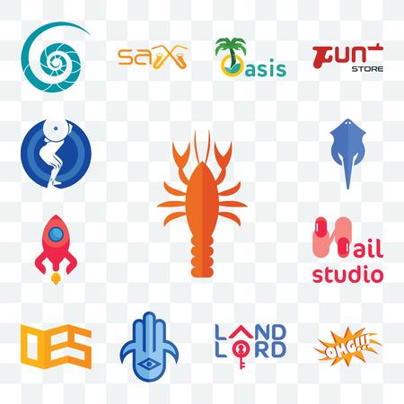 Set Of 13 transparent editable icons such as crawfish, omg, landlord, hamsa, oes, nail studio, rocketship, stingray, squat, web ui icon pack