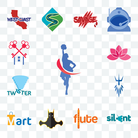 Set Of 13 transparent editable icons such as cheerleader, silent, flute, bat man, mart, poseidon, twister, lotos, , web ui icon pack Stock Illustratie