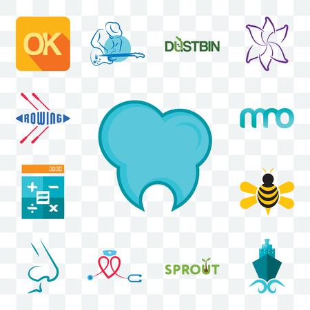 Set Of 13 transparent editable icons such as dental clinic, shipping company, sprout, nursing, nose, honey bee, calculator, 3 letter, rowing, web ui icon pack Stock Illustratie